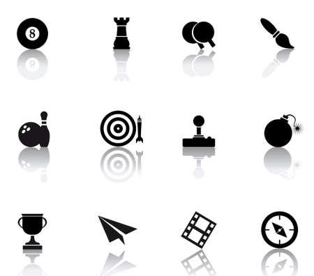 set icons featuring the principal international entertainment symbols