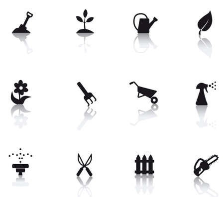 set icons featuring the principal international gardening symbols