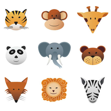 Collection color icons featuring funny wild animals