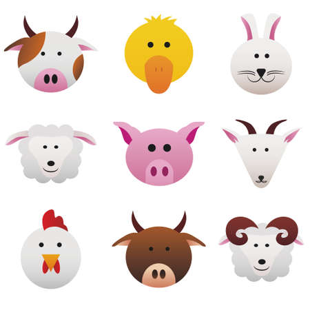 Collection color icons featuring funny farm animals