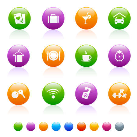 bright circular icon set, with multiple colors for easy application and issue