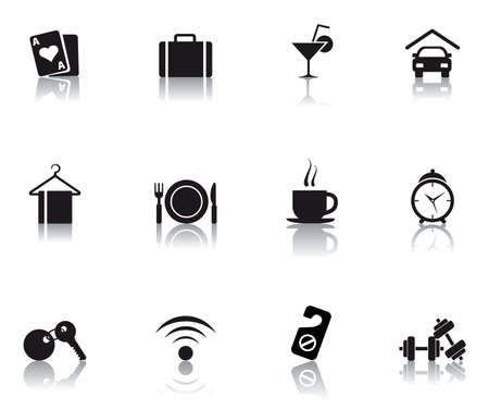 set icons featuring the principal hotel symbols