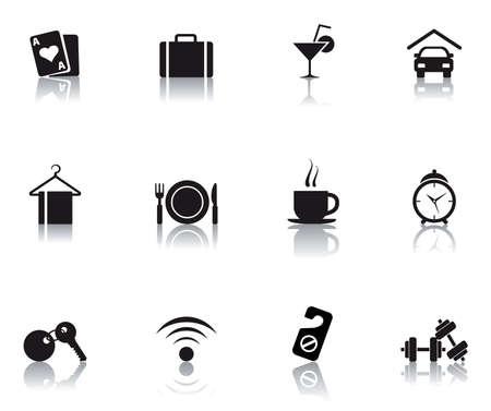 set icons featuring the principal hotel symbols