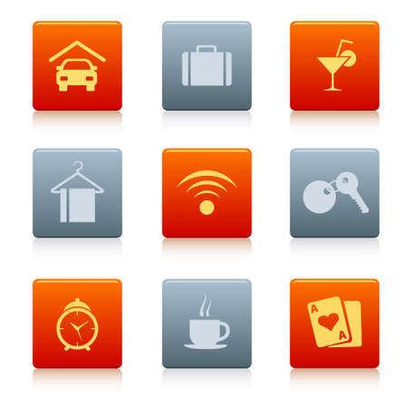 coloured square hotel icons in some colours, with shadow Illustration