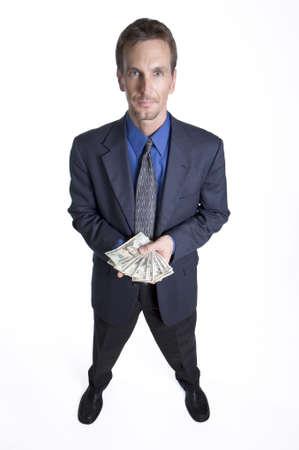 contando dinero: Empresario contando dinero