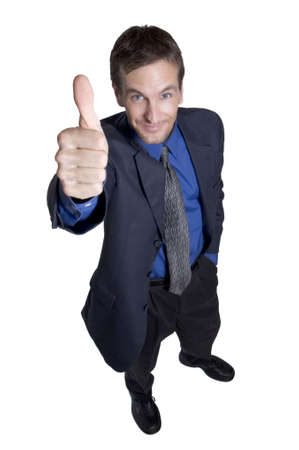 Businessman gesturing thumbs up Stock Photo