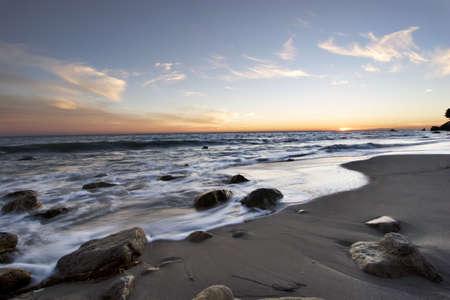 Malibu Sunset with wisps of clouds Banco de Imagens