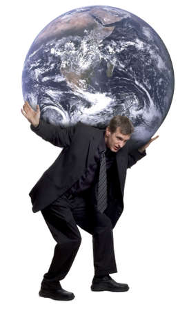 burden: Man carrying the world on his shoulders