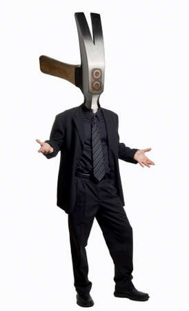Businessman with a hammer as his head.