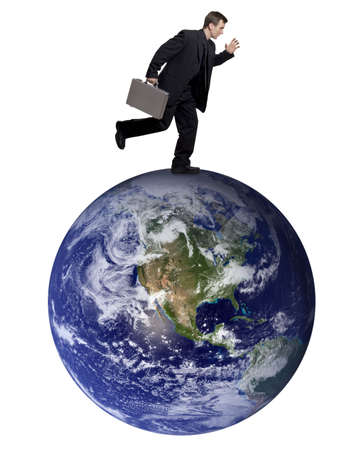 Businessman running on top of the earth