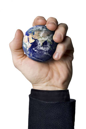globetrotter: Businessman holding the earth Stock Photo