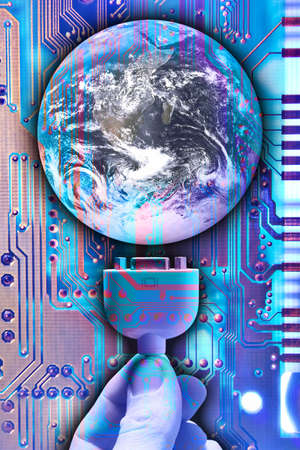 locking up: Composite of a hand, earth globe, and circuit board.