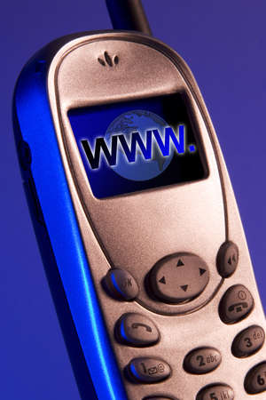 Cellular phone with www in the screen photo