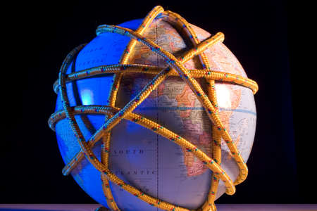 globetrotter: Earth globe wrapped with rope