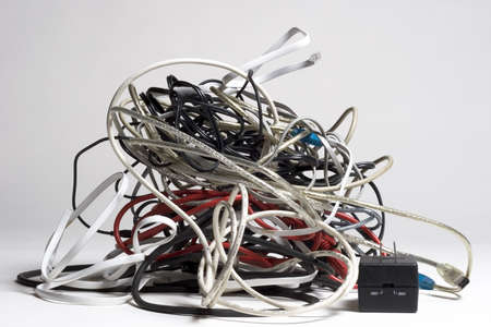Pile of tangled cords photo