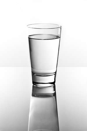 quenching: Glass of water on a reflective tabletop