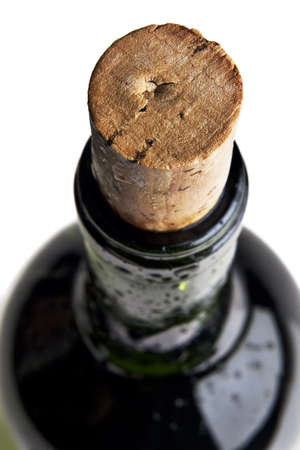 Close up photograph of a red wine bottle's cork