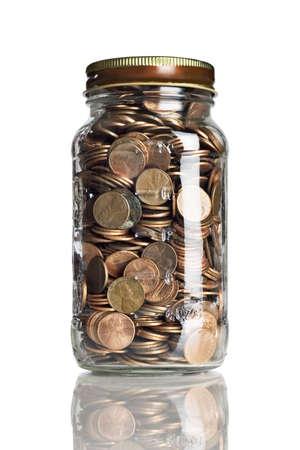 pennies: Jar of pennies