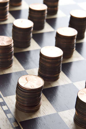 pennies: Chessboard with stacks of pennies