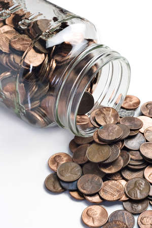 penny: Jar of pennies tipped over