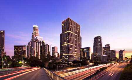 skyline at sunrise: Los Angeles during rush hour at sunset
