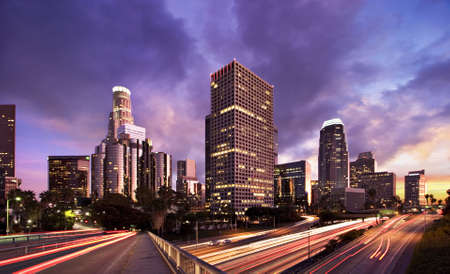 Los Angeles during rush hour at sunset  photo
