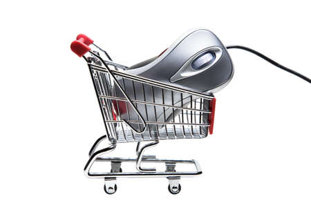 Metallic color computer mouse placed in a miniature-shopping cart.
