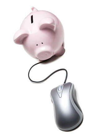 Mouse connected to a piggy bank photo