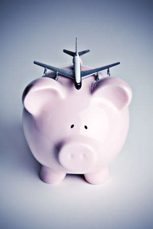 Piggy bank with toy airplane Stock Photo - 7989636
