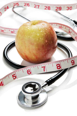 stethoscope: Apple, tape measure and stethoscope