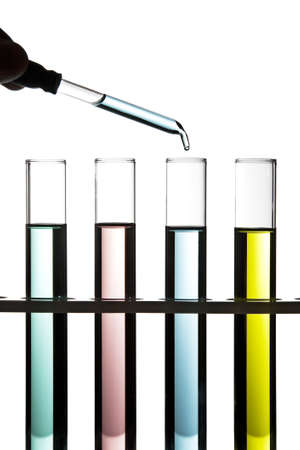 fda: Test tubes filled with colored fluid  Stock Photo