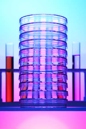 fda: Stack of petri dishes in front of test tubes