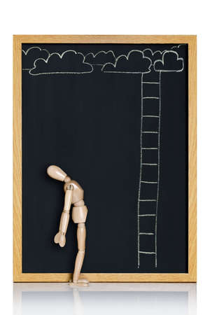anatomical model: Manikin, anatomical model, placed on a chalkboard with a ladder drawn on it