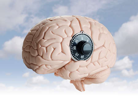 locked: Human brain model with a dial lock Stock Photo