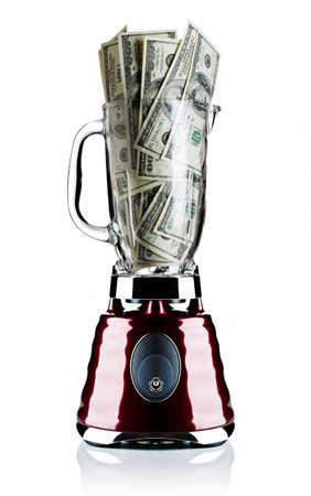 careless: Money in a blender Stock Photo