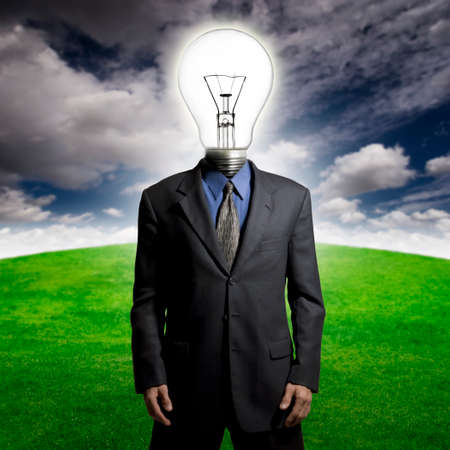 resourceful: Man with a lightbulb for a head