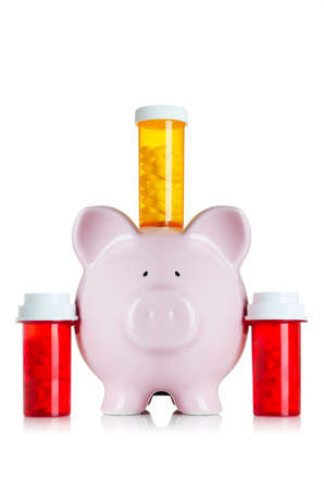 High cost of medication  Piggy bank with medicine
