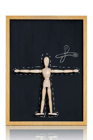 commonplace: Manikin, anatomical model, placed on a chalkboard with cut out lines drawn on it