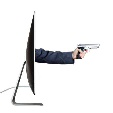 stickup: Hand holding a gun, extending out from a computer screen