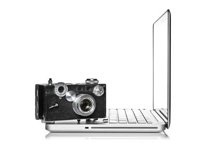 Camera placed on a laptop computer