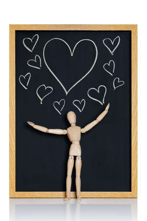lustful: Manikin, anatomical model, placed on a chalkboard with hearts drawn on it