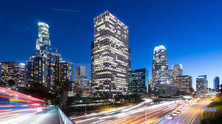 gridlock: Downtown Los Angeles at night Stock Photo