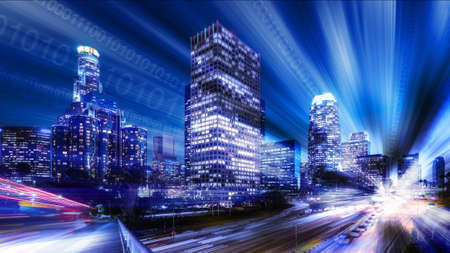 futuristic city: Composite of Los Angeles with binary code Stock Photo