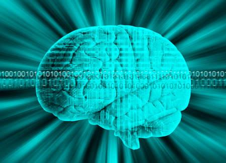 frontal lobe: Human brain with binary code