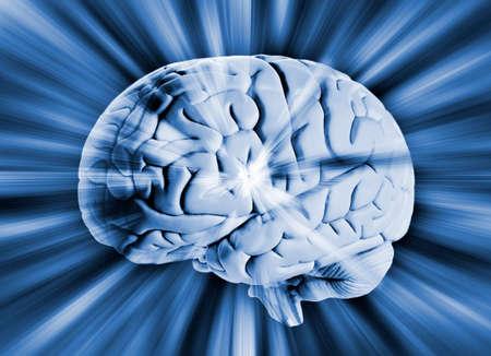 Human brain with streaks of energy