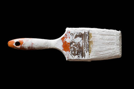 Paintbrush with white paint  Banco de Imagens