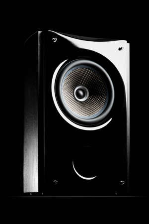 Audio speaker on a black background Banco de Imagens