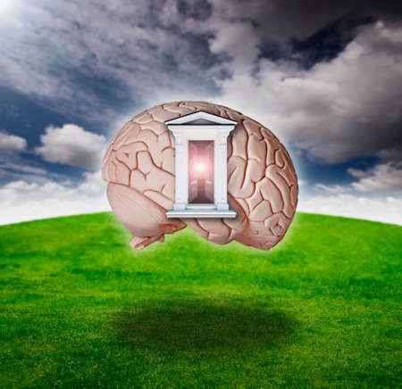 Digitale samenstelling van een open deur op een brein model