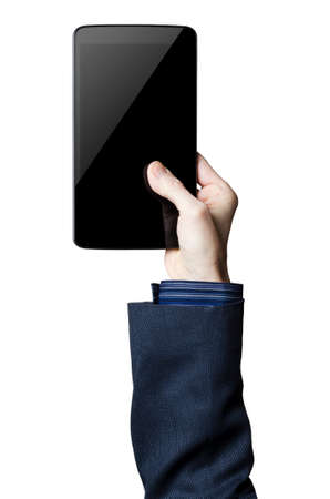 Hand holding a digital tablet with a black screen Banco de Imagens
