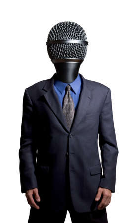 listened: Businessman with a microphone as a head